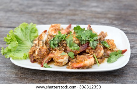 Soft focus of Shrimp with garlic pepper.