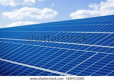 SOLAR POWER PLANT PRODUCING GREEN ENERGY - stock photo
