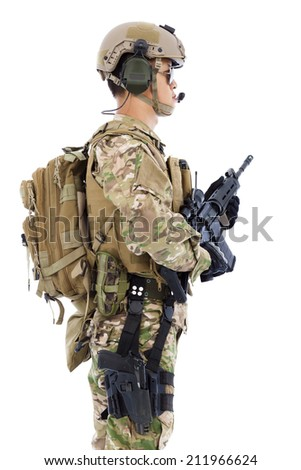soldier with rifle or sniper  ,isolated on white background