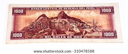 1000 soles de oro bank note. Soles de oro is the national currency of Peru