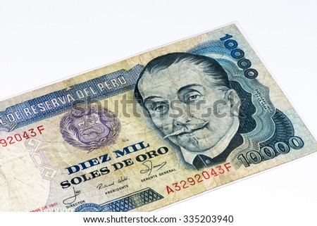 10000 soles de oro bank note. Soles de oro is the national currency of Peru