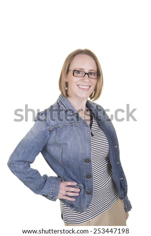 30 something woman wearing a jean jacket isolated on white - stock photo