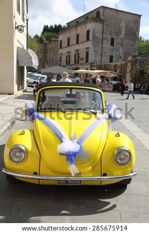 SORANO ITALY-MAY 3: Vintage wedding car with just married sign and decoration on May 3, 2015 in Sorano - stock photo
