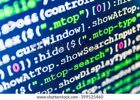 Source code photo. Programming code. Programmer occupation. Website development. Programmer developer screen. Programmer workplace.  Web site codes on computer monitor.    - stock photo