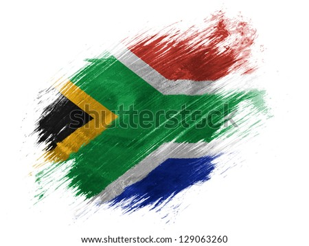 South African flag painted with brush on white background - stock photo