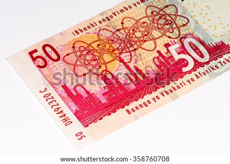 50 South African rands bank note. South African rands is the national currency of South Africa