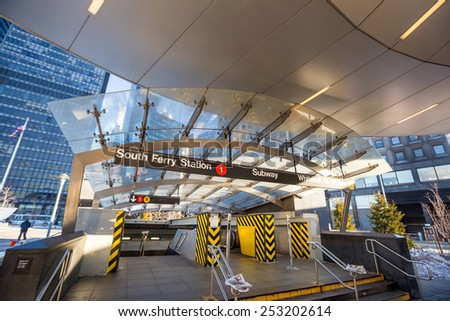 South Ferry subway entrance in Manhattan - stock photo
