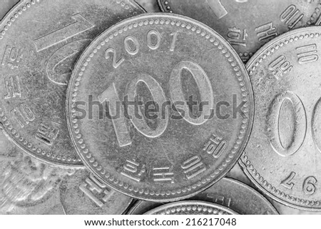 100 south korean wons coins - stock photo