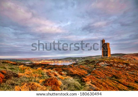 South of the Isle of Man with Milner Tower. Tranquil scene - stock photo