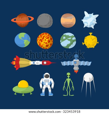 Space set of icons.  Cartoon heroes:  alien and UFO, astronaut and planets of   solar system. Space rocket and satellite. - stock photo