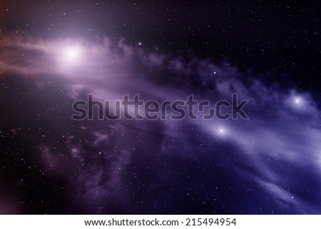 Space with nebula and bright stars.  - stock photo
