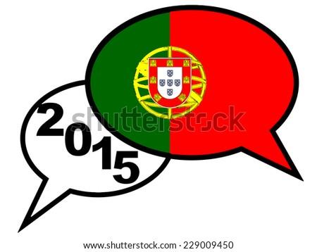 2015. SPAIN flag on speaking bubble - stock photo