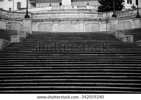 Spanish square with Spanish Steps  in Rome Italy, piazza Spagna ( photographed very early in the morning ) - stock photo