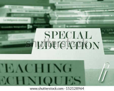 """Special education"" file in a filing cabinet - stock photo"