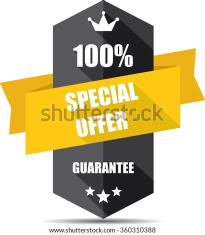 100% special offer black Label, Sticker, Tag, Sign And Icon Banner Business Concept, Design Modern With Crown.  - stock photo