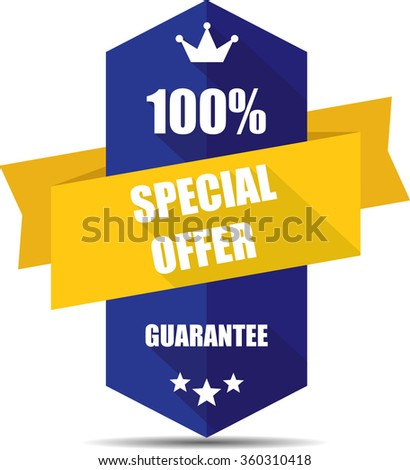 100% special offer blue Label, Sticker, Tag, Sign And Icon Banner Business Concept, Design Modern With Crown.  - stock photo