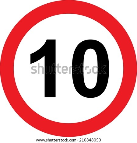 10 speed limitation road sign on white background - stock photo