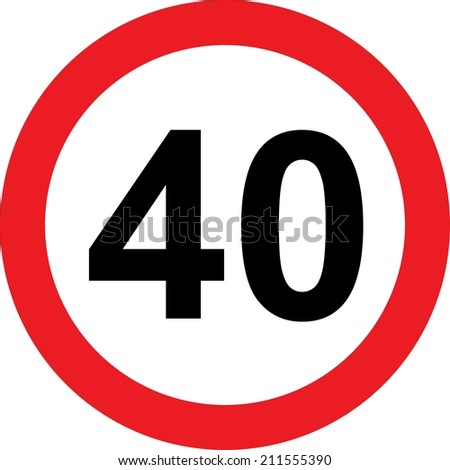 40 speed limitation road sign on white background - stock photo