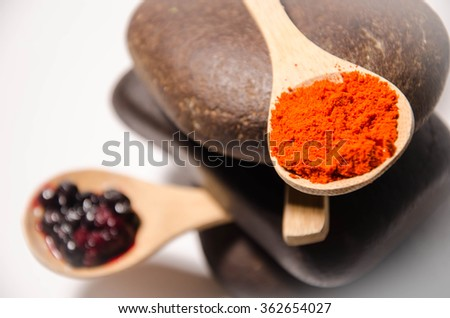 Spice in Wooden spoon