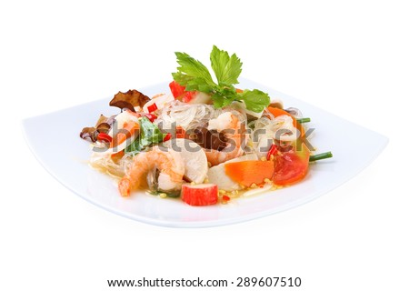 Spicy noodle salad, Thai Food - stock photo