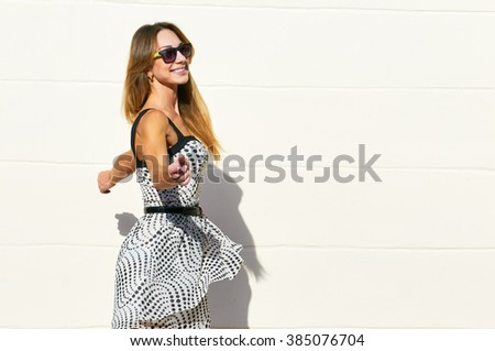 spining fashion dress woman - stock photo