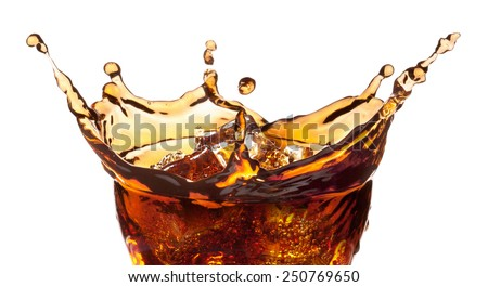 Splash from ice cubes in a glass of cola, isolated on the white background, clipping path included. - stock photo
