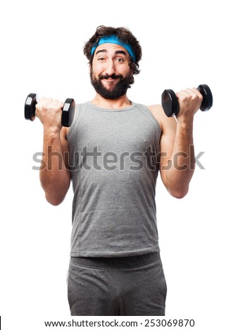 sportman with dumbbells - stock photo