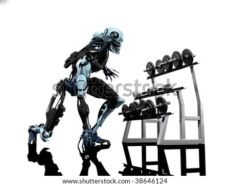 Sports objects and robot on a white background