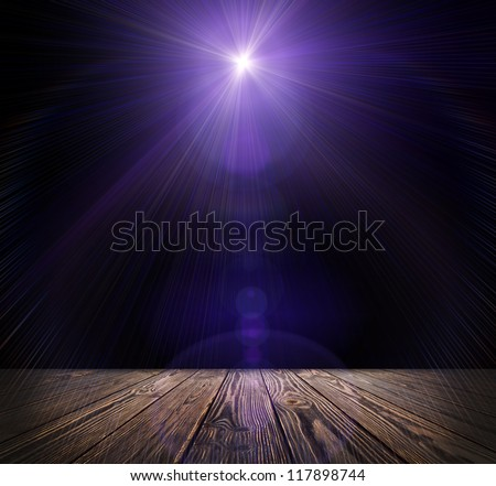 Spot lighting over dark background and wood floor. concert - stock photo