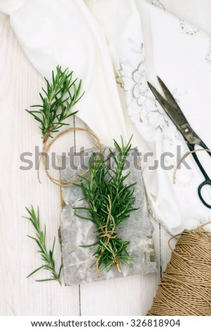 sprigs of rosemary in a bunch of related - stock photo