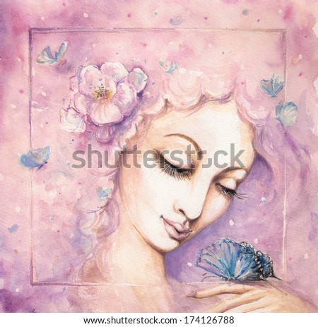 Spring.Beautiful woman with butterflies in hair.Picture created with watercolors. - stock photo
