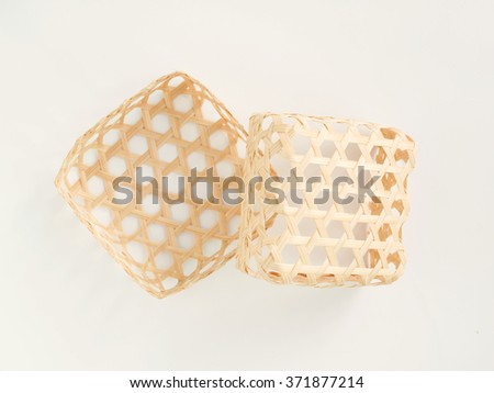 2 square bamboo wicker isolated - stock photo