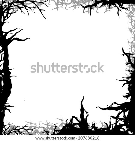 square forest background frame illustration isolated on white - stock photo