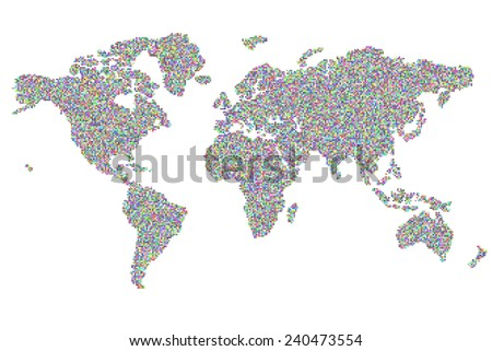 square random colored pixels world map - stock photo
