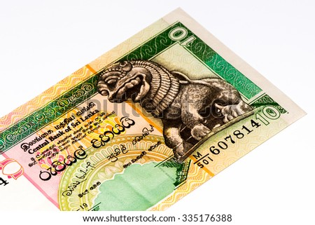 10 Sri Lankan rupee bank note. Rupees is the national currency of Sri Lanka