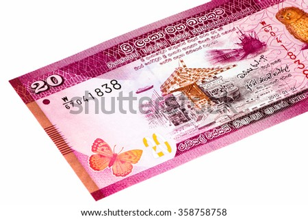 20 Sri Lankan rupee bank note. Rupees is the national currency of Sri Lanka