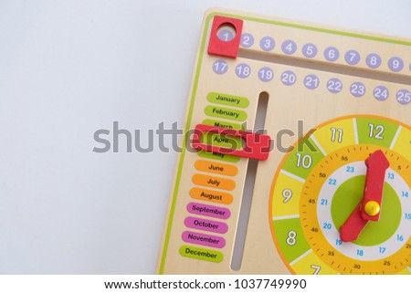 1st april concept using wooden toys calendar in white isolated background.