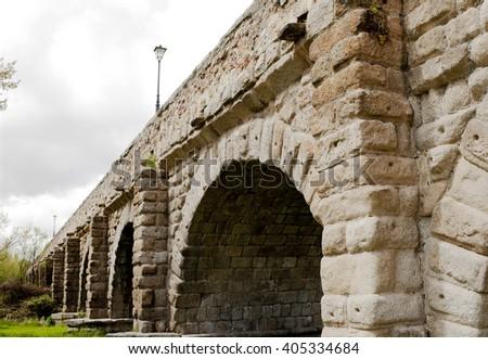 1st Century Roman bridge in Salamanca, Spain - stock photo