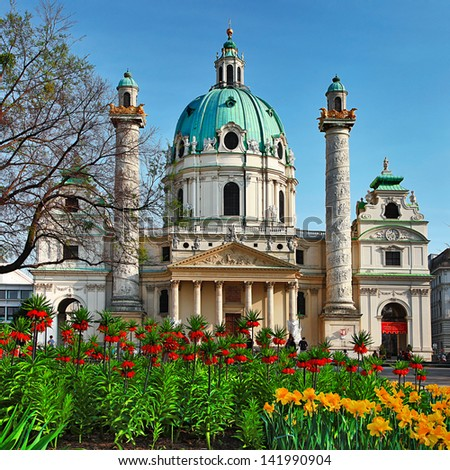 St. Charles's Church - Austria , Vienna - stock photo