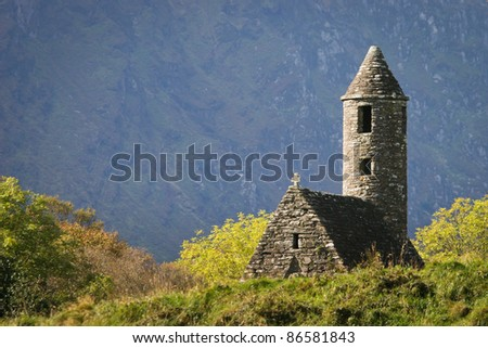 St. Kevin's ancient church in Glendalough, Wicklow Mountains, Ireland - stock photo
