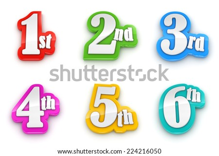 1st 2nd 3rd 4th 5th 6th numbers isolated on white background  with clipping path - stock photo