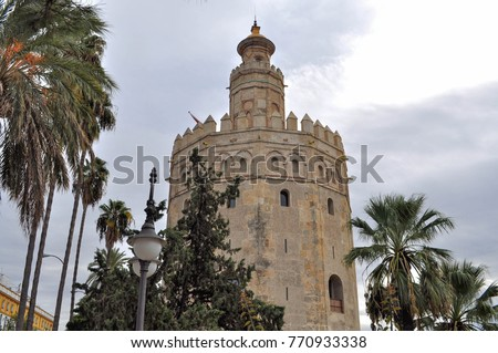 "1st November 2017. Seville. Spain. The Torre del Oro or ""Tower of Gold"". It is a dodecagonal military watchtower erected in order to control access to Seville via the Guadalquivir river."