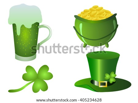 St.Patrick 's Day. Beer, clover, pot of gold and rainbow on a white background.