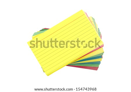 Stack Of Colorful Blank Index Cards Fanned Out / Isolated On White Background/ Horizontal Shot - stock photo