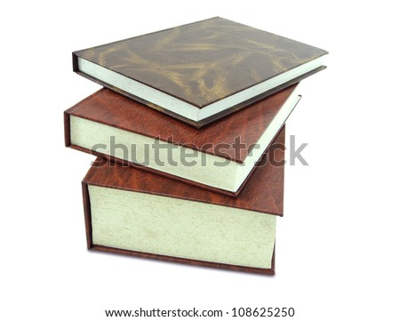 stack of leather book isolated on white background - stock photo
