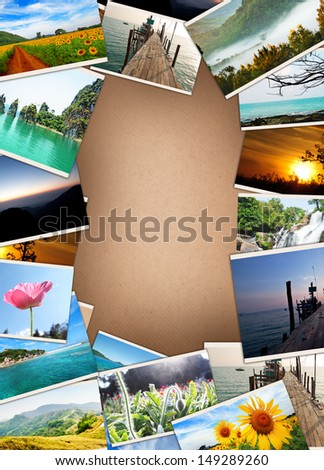 stack of travel images - stock photo