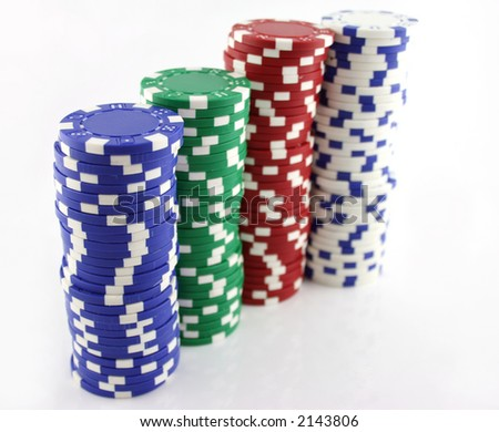 4 Stacks of Casino Chips in a line