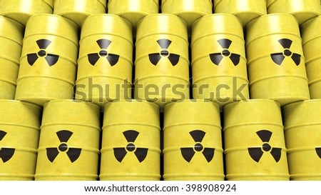 Stacks of yellow barrels for radioactive biohazard waste, 3d rendering - stock photo