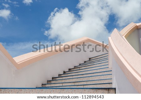 stair to blue sky