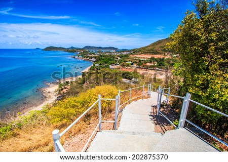 Stairway pathway viewpoint sea Rayong Thailand - stock photo